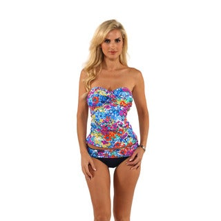 Anne Cole Floral Print Bandeaukini Top with Fold Over Bikini Bottom