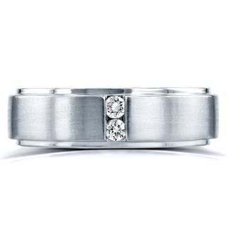 Annello by Kobelli Two Collection 14k White Gold 1/8ct. TDW 2-stone Diamond Unisex Wedding Band|https://ak1.ostkcdn.com/images/products/12043313/P18913965.jpg?impolicy=medium