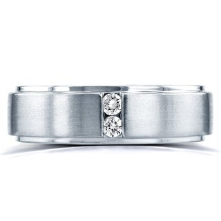 Annello by Kobelli Two Collection 14k White Gold 1/8ct. TDW 2-stone Diamond Unisex Wedding Band