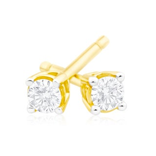 Azaro 14k Gold 1/3ct TDW Round Diamond Pushback Stud Earrings