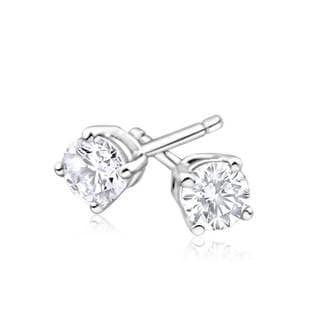 Azaro 14k White Gold 2/5ct TDW Round Diamond Pushback Stud Earrings (G-H, SI1-SI2)