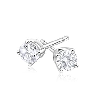 Azaro 14k White Gold 2/3 Carat TDW Round Diamond Pushback Stud Earrings