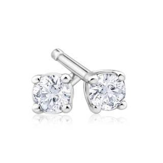 Azaro 14k White Gold 1/10-carat TDW Round Diamond Pushback Stud Earrings