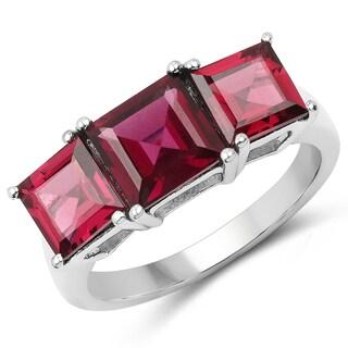 Malaika .925 Sterling Silver 4.870-carat Genuine Rhodolite Ring