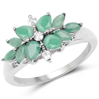 Malaika .925 Sterling Silver 1.03-carat Genuine Emerald and White Topaz Ring