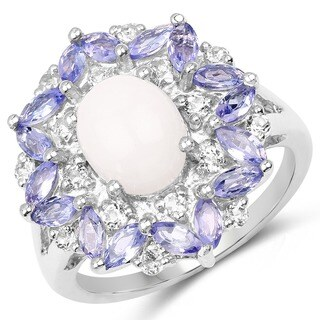 Malaika .925 Sterling-silver 3.61-carat Genuine Opal/Tanzanite/White Topaz Ring