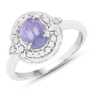 Malaika 0.925 Sterling Silver 1.92-carat Genuine Tanzanite and White Diamond Ring