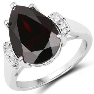 Malaika 0.925 Sterling Silver 5.65-carat Genuine Garnet and White Topaz Ring