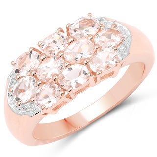 Malaika 18k Rose Gold-plated .925 Sterling Silver 1.50-carat Genuine Morganite Ring