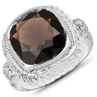 Malaika 0.925 Sterling Silver 7.15 Carat Genuine Smoky Quartz and White Topaz Ring