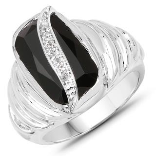 Malaika .925 Sterling Silver 4.89-carat Genuine Black Onyx and White Topaz Ring
