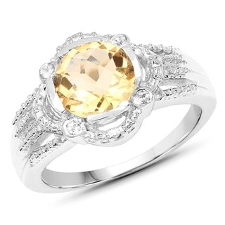 Malaika 0.925 Sterling Silver 1.84 Carat Genuine Citrine and White Topaz Ring