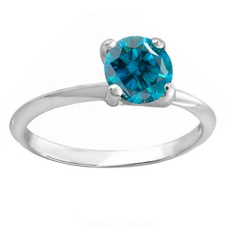 14k White Gold 1-carat TDW Round Blue Diamond Women's Bridal Engagement Solitaire Ring