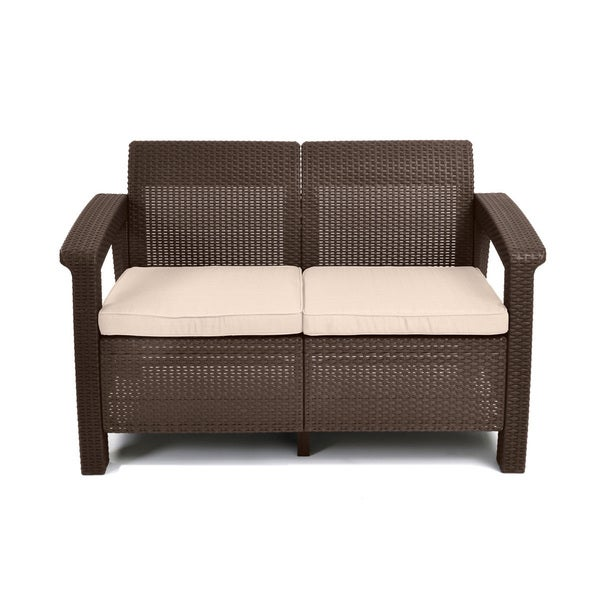 keter corfu brown all weather patio garden love seat with cushions - Wooden Garden Furniture Love Seats