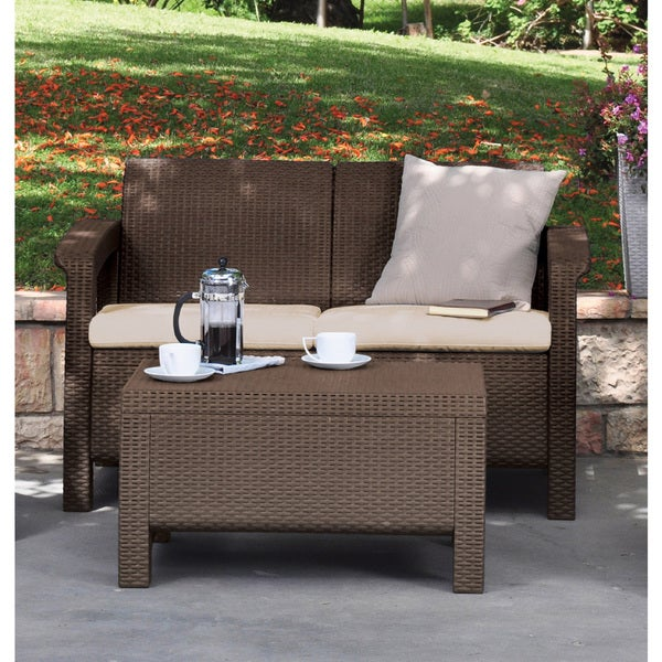 keter corfu love seat all weather outdoor brown patio garden furniture with cushions free shipping today overstockcom 18914527