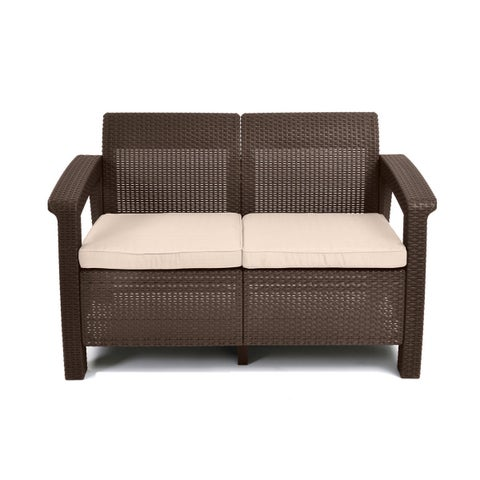 Porch & Den Deanwood Meade Brown All-Weather Patio Garden Loveseat with Cushions