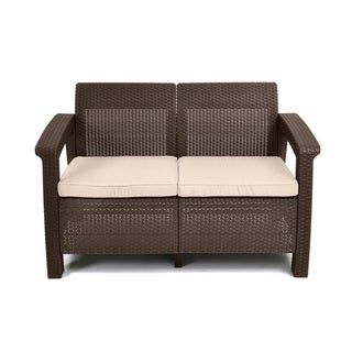 Keter Corfu Brown All-Weather Patio Garden Love Seat with Cushions