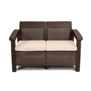 Keter Corfu Brown All Weather Patio Garden Love Seat With Cushions
