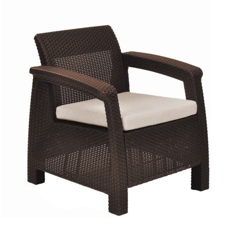 Quintana Brown All-Weather Outdoor Patio Armchair with Cushion by Havenside Home