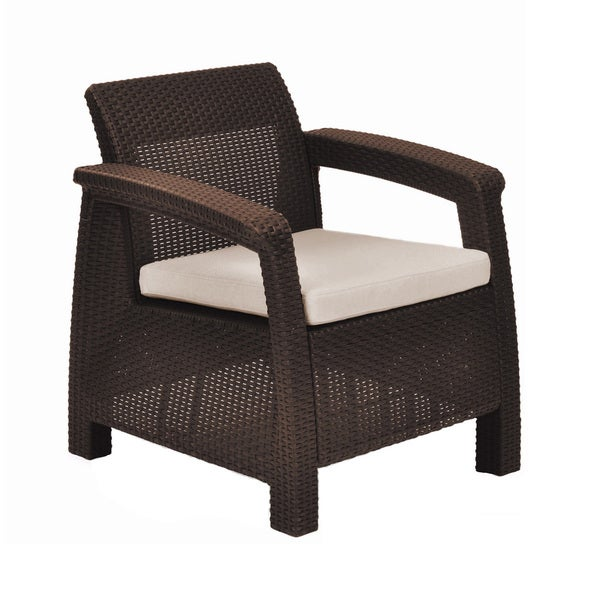 Keter corfu brown all weather outdoor garden patio for All weather garden chairs