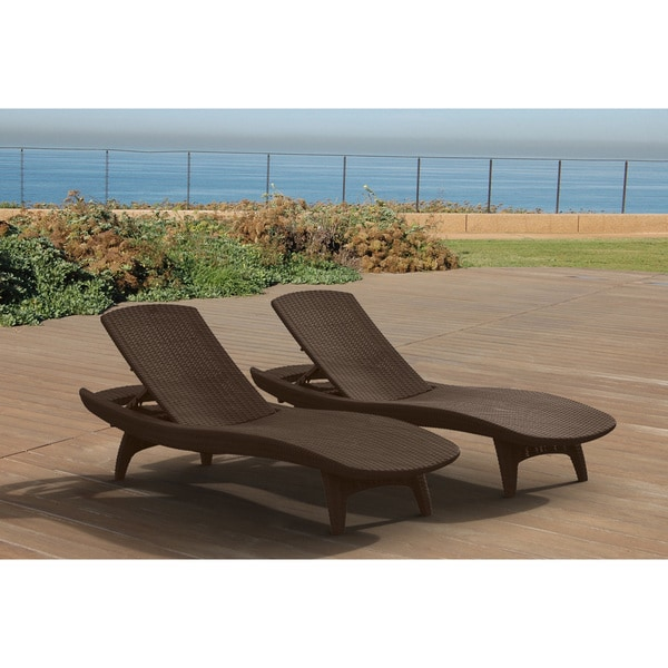Keter pacific all weather outdoor patio brown chaise for All weather chaise lounge