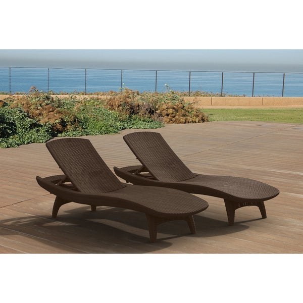 keter pacific all weather outdoor patio brown chaise lounge set of 2 free shipping today. Black Bedroom Furniture Sets. Home Design Ideas