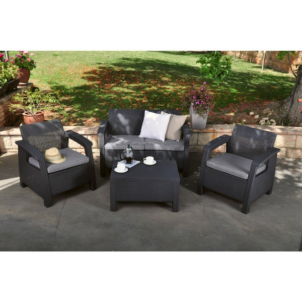 Keter Corfu Charcoal All Weather Garden Patio Love Seat With Cushions    Free Shipping Today   Overstock.com   18914528