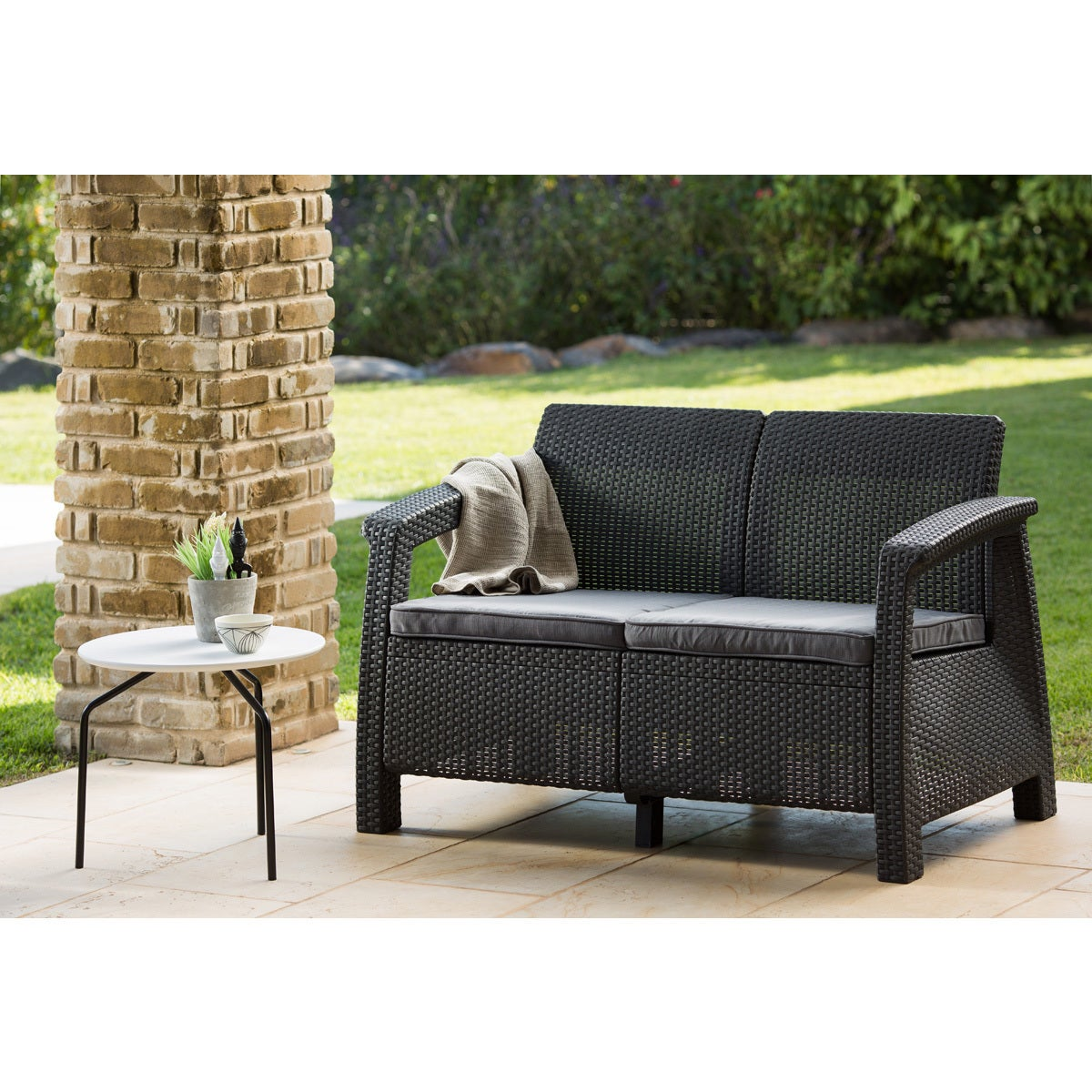 Keter Corfu Charcoal All Weather Garden Patio Love Seat With Cushions