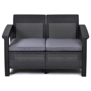 Keter Corfu Grey Resin All-weather Outdoor Patio Loveseat with Cushions