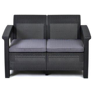 Captivating Keter Corfu Charcoal All Weather Garden Patio Love Seat With Cushions