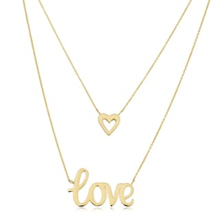 Fremada 10k Yellow Gold High Polish Heart and Love Adjustable Length Layered Necklace