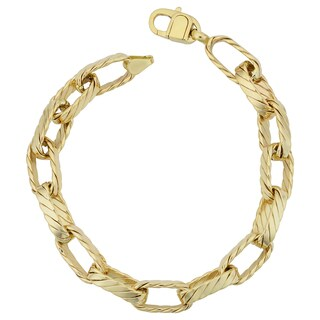 Fremada 14k Yellow Gold 8-mm Ribbed Oval Link Bracelet (8.25 inches)