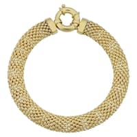 Fremada 14k Yellow Gold 8.5-mm Puffed Mesh Bracelet (7.5 inches)