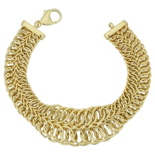 Fremada Italian 14k Yellow Gold Two-Row Graduated Round Link Bracelet (7.75 inches)
