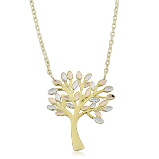 Fremada 10k Tricolor Gold Tree of Life Adjustable Length Necklace