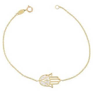 Fremada 14k Two-tone Gold Filigree Hamsa Bracelet (7.25 inches)