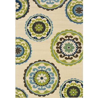 Ivory and Green Outdoor Area Rug (3'7 x 5'6) (As Is Item)