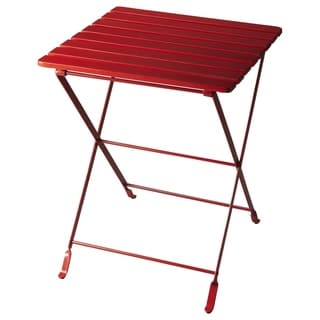 Handmade Butler Bailey Red Wood and Metal Folding End Table (India)