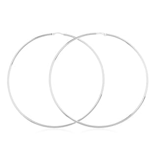 White Sterling Silver 2.75-inch Hoop Earrings