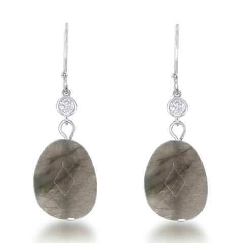 La Preciosa Sterling Silver Natural Stone and CZ Dangle Earrings