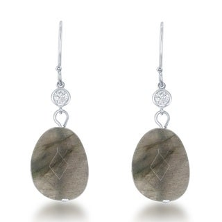 La Preciosa Sterling Silver Natural Stone and CZ Dangle Earrings