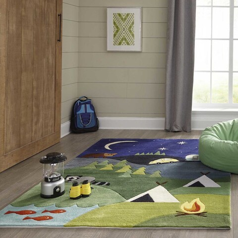 Momeni Lil Mo Whimsy Blue Camping Fun Hand-Tufted and Hand-Carved Rug (5' X 5' Round) - 5' x 5' Round