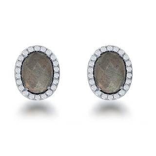 La Preciosa Sterling Silver Natural Stone and CZ Small Oval Stud Earrings