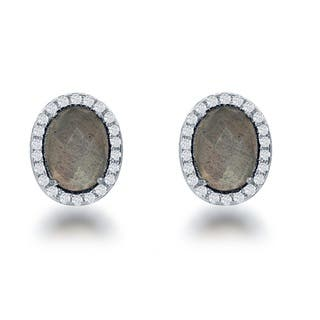 La Preciosa Sterling Silver Natural Stone and CZ Small Oval Stud Earrings (Option: Tigers Eye)|https://ak1.ostkcdn.com/images/products/12044550/P18915007.jpg?impolicy=medium