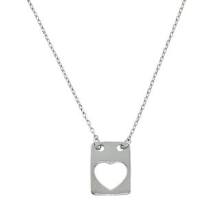 Eternally Haute Silverplated Brass Open Heart Tag Necklace