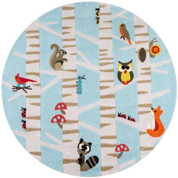 Dog Themed Outdoor Rugs: Shop Momeni Lil Mo Whimsy Light Blue Forest Critters Hand