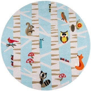 Momeni Lil Mo Whimsy Light Blue Forest Critters Hand-Tufted and Hand-Carved Rug (5' X 5' Round)