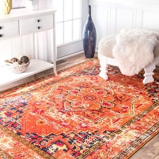 nuLOOM Traditional Flower Medallion Orange Rug (3' x 5')