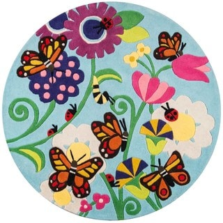 Hand-Tufted Momeni 'Lil Mo Butterfly Multi Polyester Rug (5' Round)