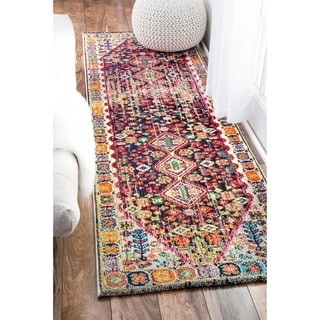 nuLOOM Distressed Traditional Floral Persian Area Rug (26 x 8 Runner - Black)